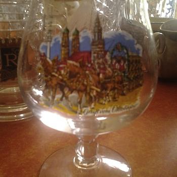 gruss vom oktoberfest stemmed beer glass - Breweriana