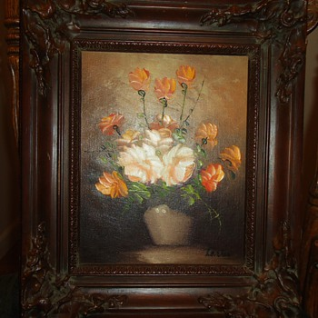 Oil and water color paintings, flowers