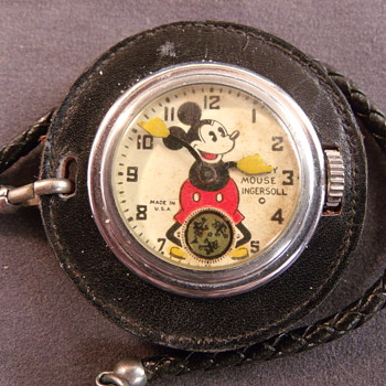 "1936 Ingeroll ""Leather"" Mickey Mouse Lapel Watch - Pocket Watches"
