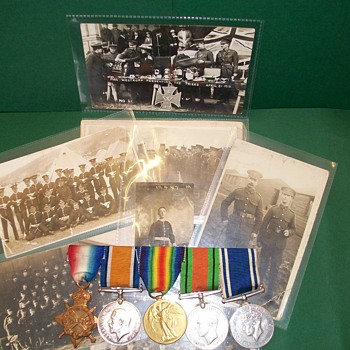 WW1 Trio plus later medals and Postcards - Military and Wartime