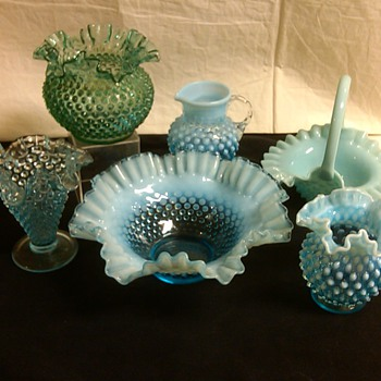 FENTON BLUE AND GREEN FAVORITES FROM MY COLLECTION