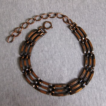 Unsigned copper rail fence choker  - Costume Jewelry