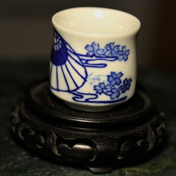 Blue & White Porcelain Sake Cup - Asian