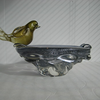 Rare Chalet art glass bowl/ashtray and bird by Gianfranco Guarnieri
