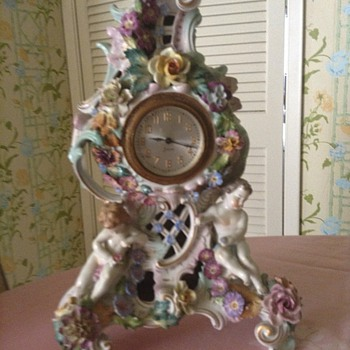 "dresden ornate floral and children mantel clock 14"" H x 7"" - Clocks"