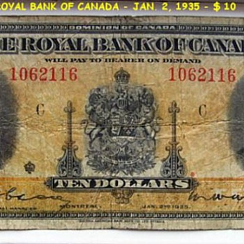 THE ROYAL BANK OF CANADA (1935 ) -- $ 10 Dollars