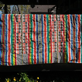 Old Colorful Wool Blanket, 103 inches long