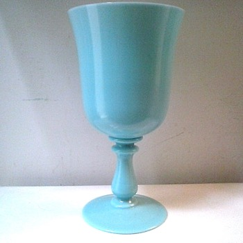 "10"" Robin's Egg Blue Opaline Glass Presentation Goblet/ Vallerysthal-Portieux France /Circa 20th Century - Art Glass"