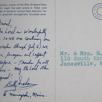BILLY GRAHAM handwritten and signed postcard Madison Square Garden