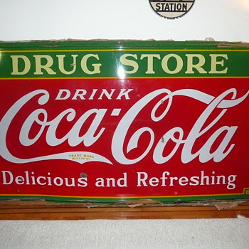 1935 Coca Cola Drug Store Sign American Icon Classic 4&#039; by 8&#039; Porcelain - Coca-Cola