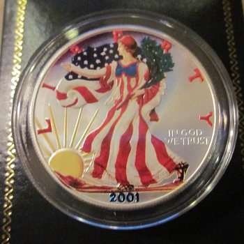 2001 Color Silver American Eagle Coin and 1989 Berlin Wall Germany Coin