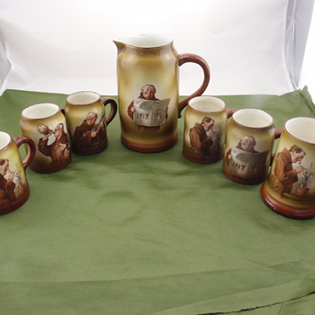 Columbian Art Pottery Belleek jug and mugs (1893 - 1902) - Pottery