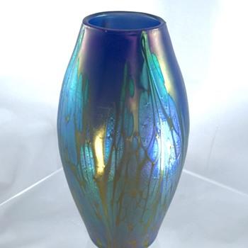 Loetz Phänomen Genre 2/484, Medici Blau Opal Vase, Ca 1902-03