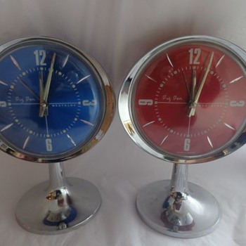 Big Ben Westclox  Space Age Tulip Base Alarm Clocks