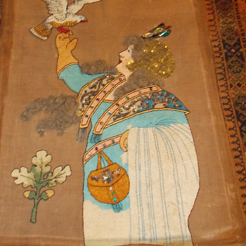 Art Nouveau  tapestry with coloured glass gems - Art Nouveau