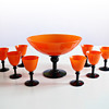Tango punch-bowl or ice-cream bowl and eight matching glasses/cups