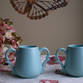 Matte Turquoise Glaze Cream and Sugar Signed MK (joined) - Art Pottery