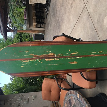 Vintage 1920's (maybe) surfboard.  Found in Grandma's attic
