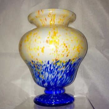 Czech Deco Spatter Blue $ Yellow Footed Cased Vase