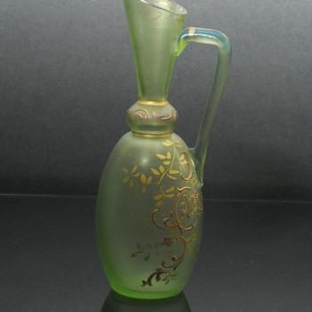 Bohemian enameld uranium glass ewer