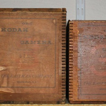 First seven Kodak String-set wooden boxes, a complete set.