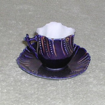 Cobalt blue and gold demitasse cup &amp; saucer