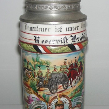 Imperial German Reservist's Stein of Reservist Brudy, 3rd Prussian Machine Gun Detachment.   - Breweriana