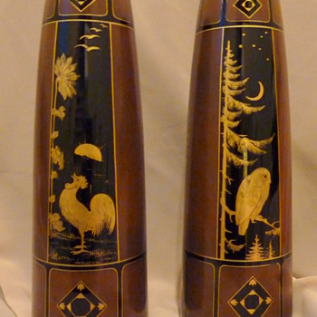 Harrach Night and Day Vases.  - Art Glass