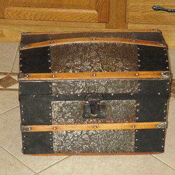 Doll Size Embossed Metal Trunk - Refinished  - Furniture