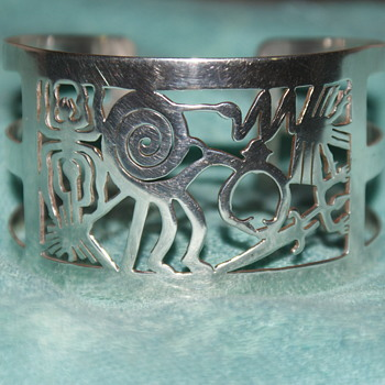 950 Silver Cuff Depicting Nazca Lines from Peru