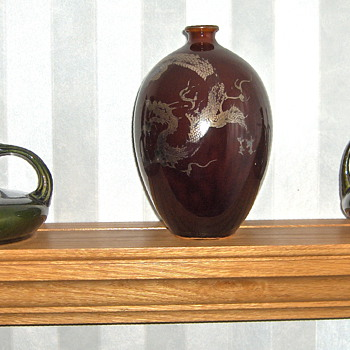 More Japanese Antique Glazed Pottery & Worn Silver Dragon Overlay Pieces