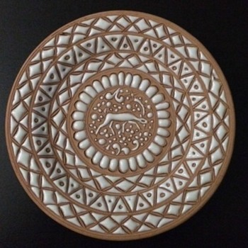 Very Rare Handmade in Rhodes Greece Plate by ICAROS Pottery