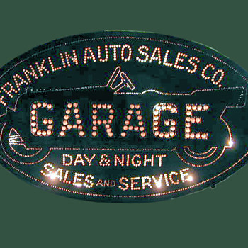 FRANKLIN GARAGE/AUTO TIN SIGN   PRE NEON