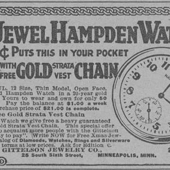 1919 - Hampden Pocket Watch Advertisement