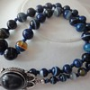 Silver blue color Agate necklace