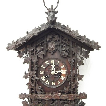 J.B.Beha: Stunning heavily carved Fusee wall cuckoo clock,. Ca. 1864