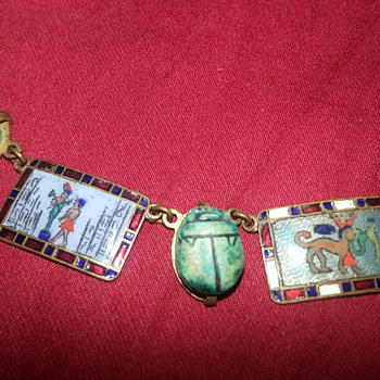 ENAMEL BRASS 1920'S NECKLACE - Costume Jewelry