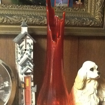Nostalgic orangish red with a yellow trim in glass ,old glass vase - Art Glass