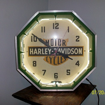 1940&#039;s Harley-Davidson Dealer Neon Clock - Motorcycles