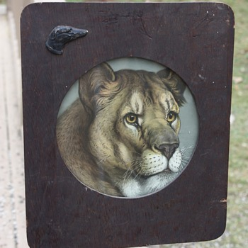 Antique Lioness Print in Handmade Wooden Frame - Visual Art