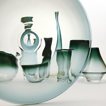 9 glass items from the TONA range, Bengt Orup (Johansfors, 1957) - Art Glass