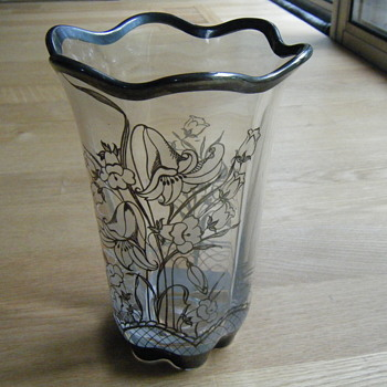 Clear Glass Vase Silver Overlay - Glassware