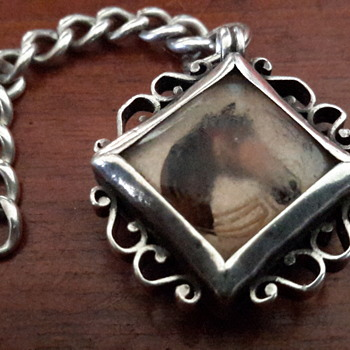 Antique Victorian sterling silver fob compass with painted horse