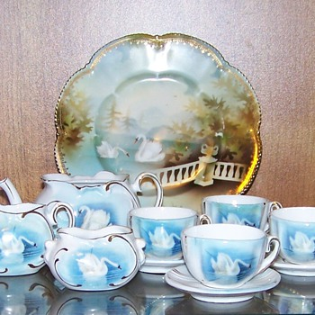 RS Prussia toy tea set with swans