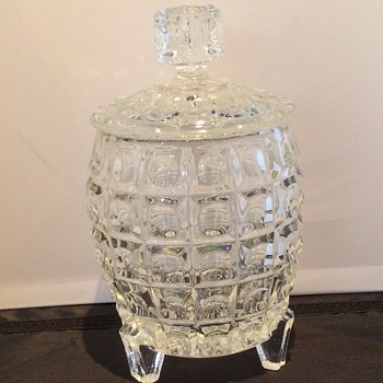 "9"" high large glass barrel shaped jar"