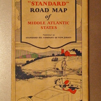 1928 Standard Oil Middle Atlantic States Road Map - Paper