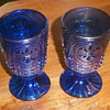 Blue Carnival Glass Goblets