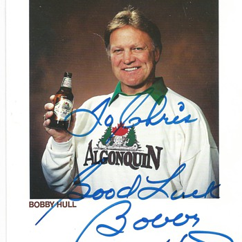 "Algonquin Beer""Bobby Hull""Signed card 1989"