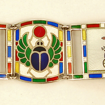 Deco Egyptian Revival Enamel Bracelet
