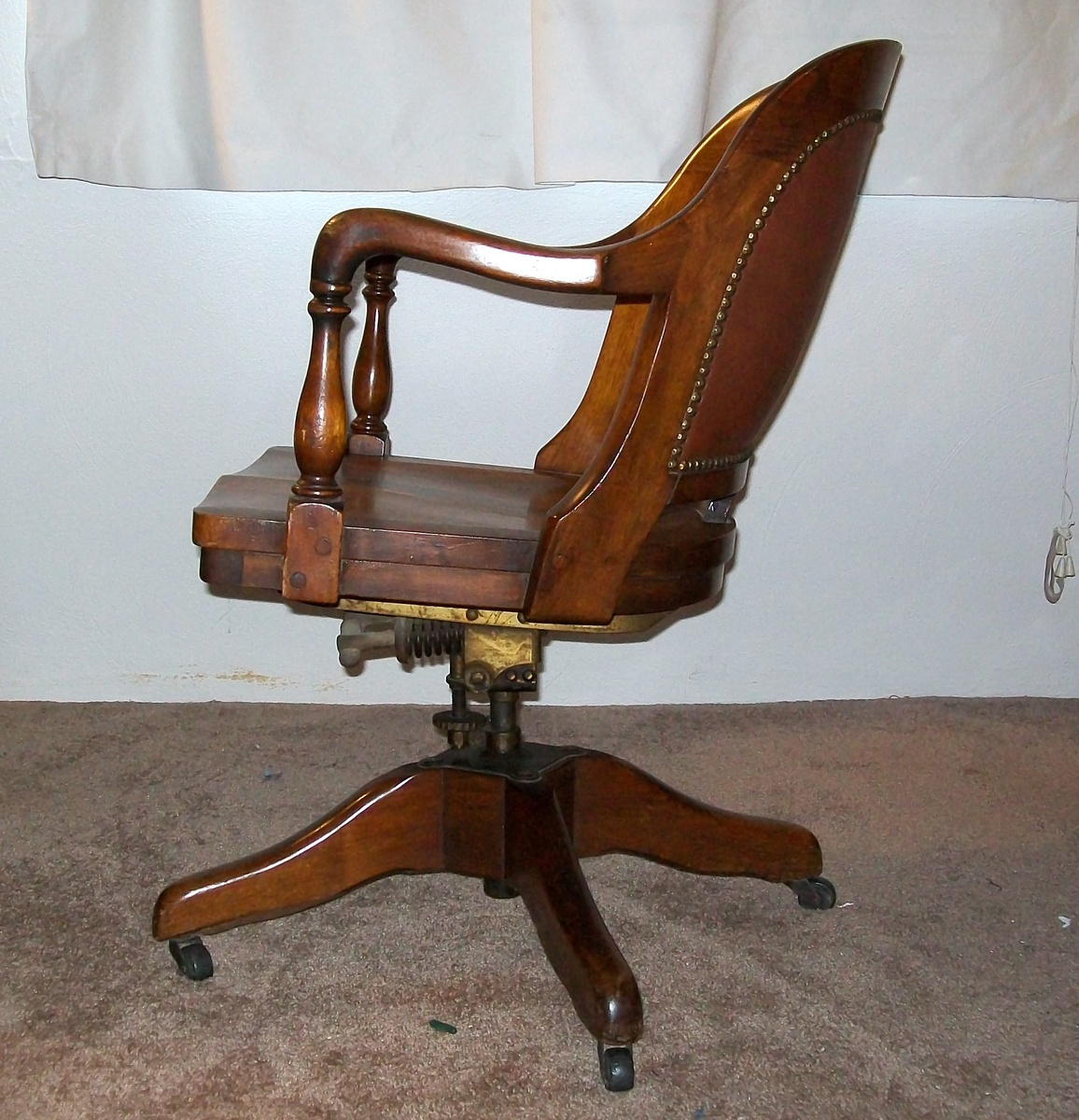 Antique Wood Cast Iron Banker Desk Office Chair Swivel